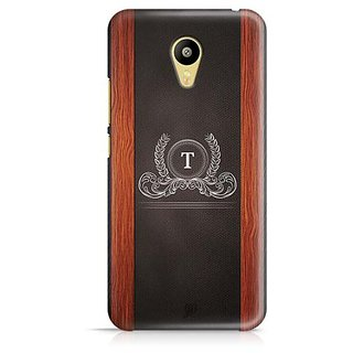 YuBingo Monogram with Beautifully Written Wooden and Leather (Plastic) Finish letter T Designer Mobile Case Back Cover for Meizu M3