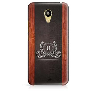YuBingo Monogram with Beautifully Written Wooden and Leather (Plastic) Finish letter U Designer Mobile Case Back Cover for Meizu M3