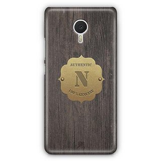 YuBingo Monogram with Beautifully Written Wooden and Metal (Plastic) Finish letter N Designer Mobile Case Back Cover for Meizu M3 Note