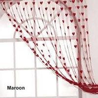 Deal Wala Heart Design Maroon Curtain - 1pc
