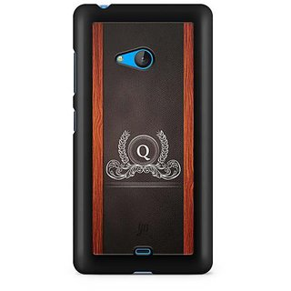 YuBingo Monogram with Beautifully Written Wooden and Leather (Plastic) Finish letter Q Designer Mobile Case Back Cover for Microsoft Lumia 540