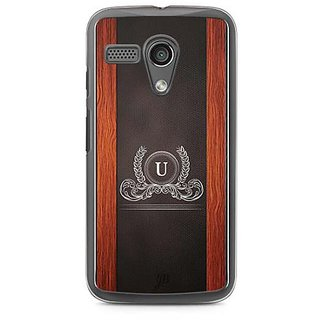YuBingo Monogram with Beautifully Written Wooden and Leather (Plastic) Finish letter U Designer Mobile Case Back Cover for Motorola G