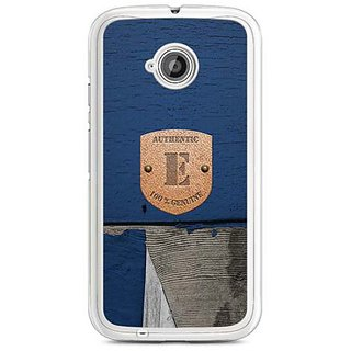 YuBingo Monogram with Beautifully Written Wooden and Metal (Plastic) Finish letter E Designer Mobile Case Back Cover for Motorola E2