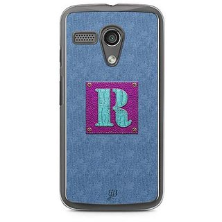 YuBingo Monogram with Beautifully Written Jeans and Girly Leather Finish letter R Designer Mobile Case Back Cover for Motorola G