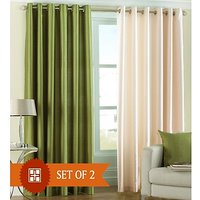 Furnix Plain Eyelet Door Curtain D.No. 1029- Combo