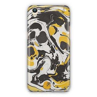 YuBingo Yellow Black Marble Finish (Plastic) Designer Mobile Case Back Cover for Oppo F1 Plus / R9