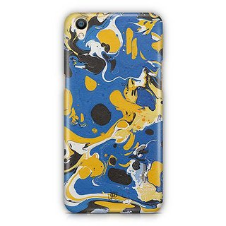 YuBingo Blue Yellow Marble Finish (Plastic) Designer Mobile Case Back Cover for Oppo F1 Plus / R9