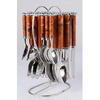 Elegante Viva Designer Brown Cutlery Set - 24 Pcs With Stand