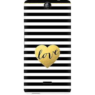 CopyCatz Black And White Gold Love Premium Printed Case For Micromax Canvas Juice 3 Q392