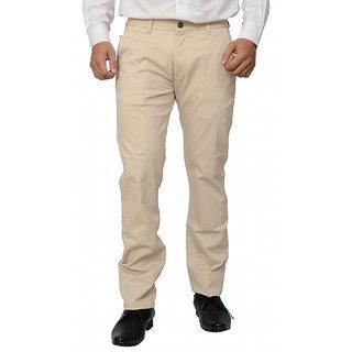 Khaki Blue Beige Regular Flat Trousers
