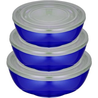 Gold Dust Airtight Microwave Safe - 1500 ml 1000 ml 500 ml Stainless Steel Multi-purpose Storage Container (Pack of 3 Purple)