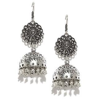 Rubans Oxidised Silver-Toned  Earrings Jhumki Earring