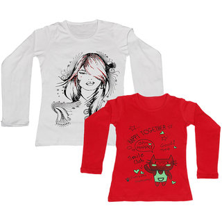 IndiWeaves Girls Cotton Full Sleeve Printed T-Shirt (Pack of 2)Multicolor
