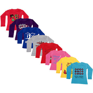 IndiWeaves Girls Cotton Full Sleeve Printed T-Shirt (Pack of 8)Multicolor