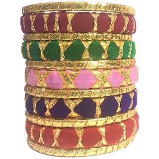 Kuhuk Multi Color Silk Thread Plastic Bangles Set TBC5035