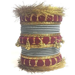 Kuhuk Multi Color Silk Thread Plastic Bangles Set TBC5049