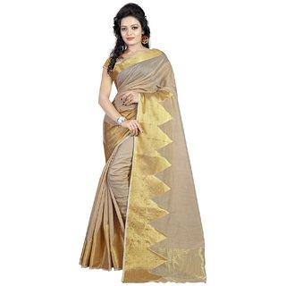 Thankar Cream&Gold Batik Print Polyester Saree With Blouse