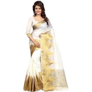 Thankar Gold&White Printed Polyester Saree With Blouse