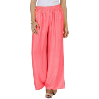 Mayoni Women'S Rayon Free Size Peach Plazzos