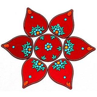 Decoration Craft Acrylic Rangoli (22 Cm x 22 Cm, Red)