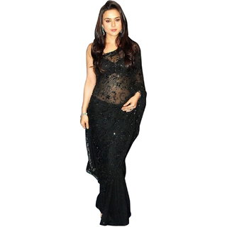 Surattex Black Embroidered Saree