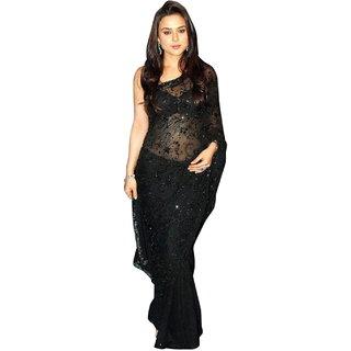 Surattex Black Embroidered Saree