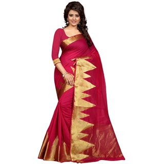 Thankar Gold&Pink Block Print Polyester Saree With Blouse