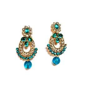 fashionable Blue  Golden drop earrings for women  Girls by shrungarika