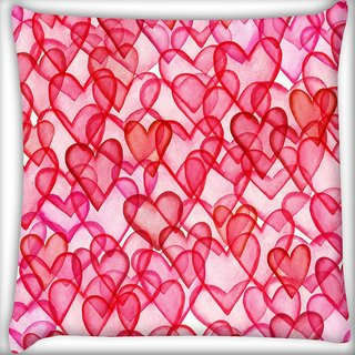 Snoogg Red Hearts Digitally Printed Cushion Cover Pillow 20 x 20 Inch