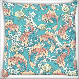 Snoogg Abstract Fish In Sea Digitally Printed Cushion Cover Pillow 20 x 20 Inch