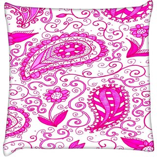Snoogg  Paisley Pink Pattern  Digitally Printed Cushion Cover Pillow 16 x 16 Inch