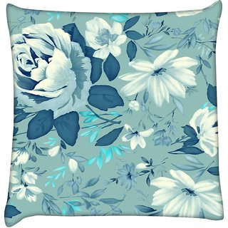 Snoogg blue floral pattern 2481  Digitally Printed Cushion Cover Pillow 16 x 16 Inch