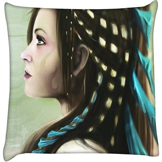 Snoogg jap fighter angel 2491  Digitally Printed Cushion Cover Pillow 16 x 16 Inch