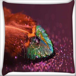 Snoogg peacock feather drops Digitally Printed Cushion Cover Pillow 16 x 16 Inch