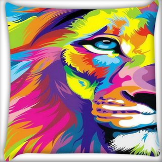 Snoogg Lion paint Digitally Printed Cushion Cover Pillow 16 x 16 Inch