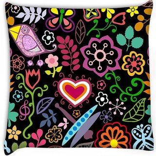 Snoogg  colorful floral seamless pattern in cartoon style seamless pattern Digitally Printed Cushion Cover Pillow 16 x 16 Inch