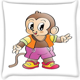 Snoogg  comic character background Digitally Printed Cushion Cover Pillow 16 x 16 Inch
