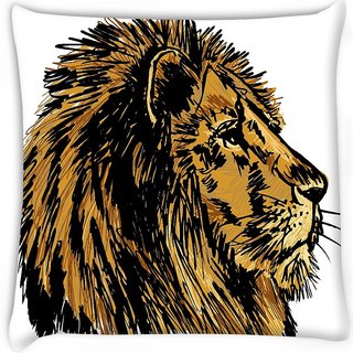 Snoogg  sketch of a big male african lion vector illustration  Digitally Printed Cushion Cover Pillow 16 x 16 Inch