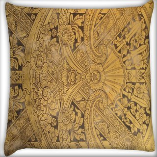 Snoogg Abstract Golden Design Digitally Printed Cushion Cover Pillow 16 x 16 Inch