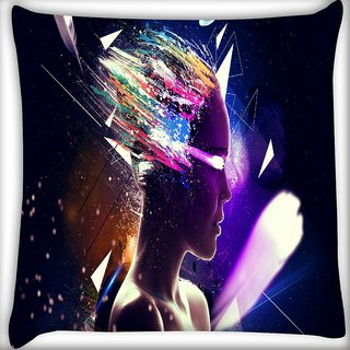 Snoogg Girl Eyes Digitally Printed Cushion Cover Pillow 16 x 16 Inch