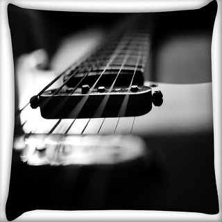 Snoogg First Guitar Digitally Printed Cushion Cover Pillow 16 x 16 Inch