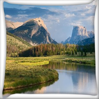 Snoogg Lake And Garden Digitally Printed Cushion Cover Pillow 20 x 20 Inch
