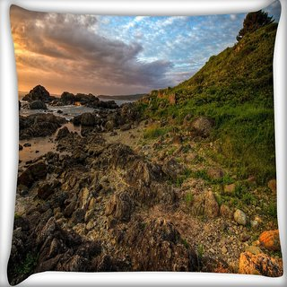 Snoogg Brown Rocks Digitally Printed Cushion Cover Pillow 20 x 20 Inch