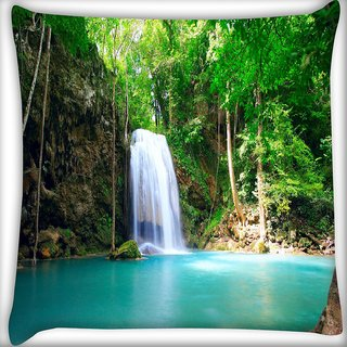Snoogg Green Waterfall Digitally Printed Cushion Cover Pillow 20 x 20 Inch