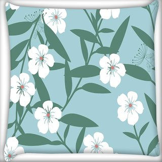 Snoogg White Flower And Green Digitally Printed Cushion Cover Pillow 20 x 20 Inch