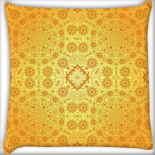 Snoogg Abstract Yellow Pattern Digitally Printed Cushion Cover Pillow 20 x 20 Inch
