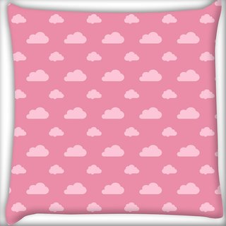 Snoogg Abstract Pink Clouds Digitally Printed Cushion Cover Pillow 20 x 20 Inch