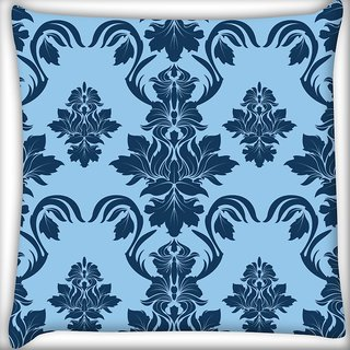 Snoogg Blue Leafy Pattern Digitally Printed Cushion Cover Pillow 20 x 20 Inch
