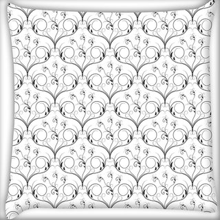 Snoogg V Shaped Floral Digitally Printed Cushion Cover Pillow 20 x 20 Inch
