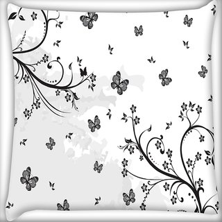 Snoogg Grey Butterflies Digitally Printed Cushion Cover Pillow 20 x 20 Inch